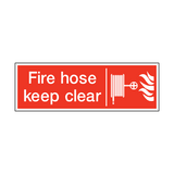 Fire Hose Keep Clear Safety Sign | PVCSafetySigns.co.uk