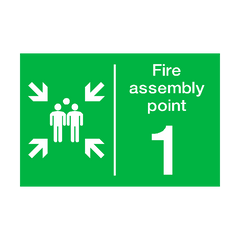 Fire Assembly Point One Sign | PVC Safety Signs | Health and Safety Signs