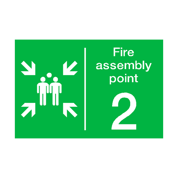 Fire Assembly Point Two Sign | PVCSafetySigns.co.uk