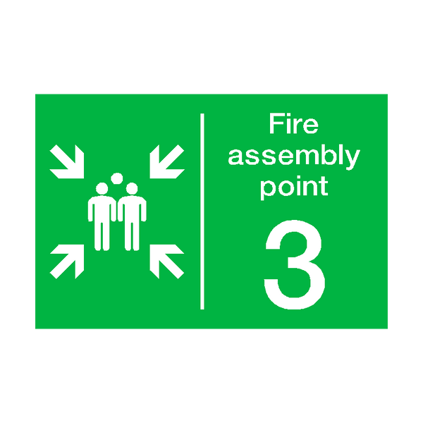 Fire Assembly Point Three Sign | PVCSafetySigns.co.uk