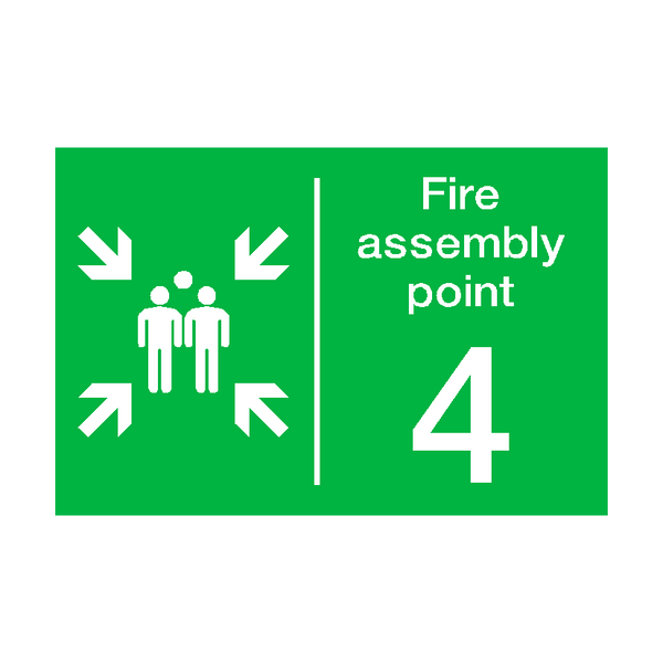Fire Assembly Point Four Sign | PVCSafetySigns.co.uk