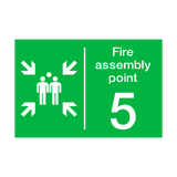 Fire Assembly Point Five Sign | PVCSafetySigns.co.uk