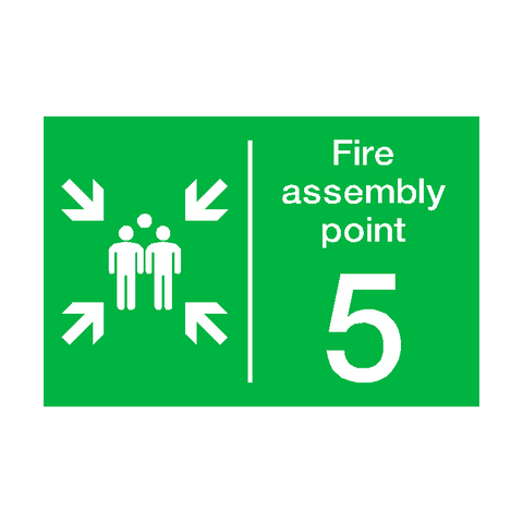 Fire Assembly Point Five Sign | PVC Safety Signs | Health and Safety Signs