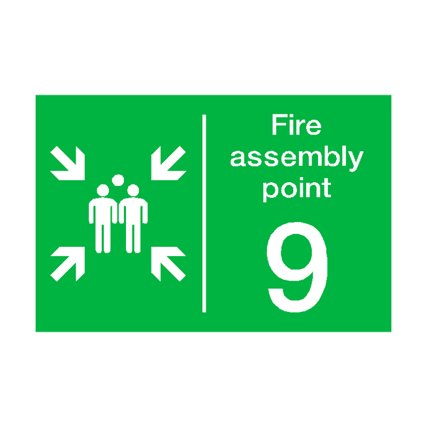 Fire Assembly Point Nine Sign | PVCSafetySigns.co.uk