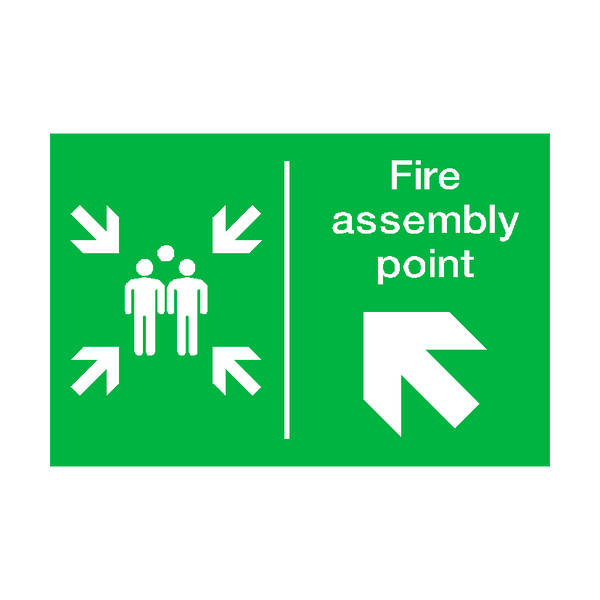 Fire Assembly Point Arrow Up Left Sign | PVCSafetySigns.co.uk