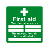 First Aid Personnel Box Sign - PVC Safety Signs