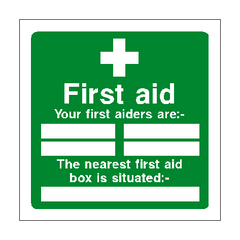 First Aid Personnel Box Sign | PVC Safety Signs | Health and Safety Signs
