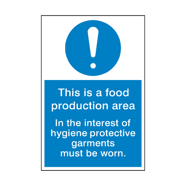 Food Production Area Sign - PVC Safety Signs