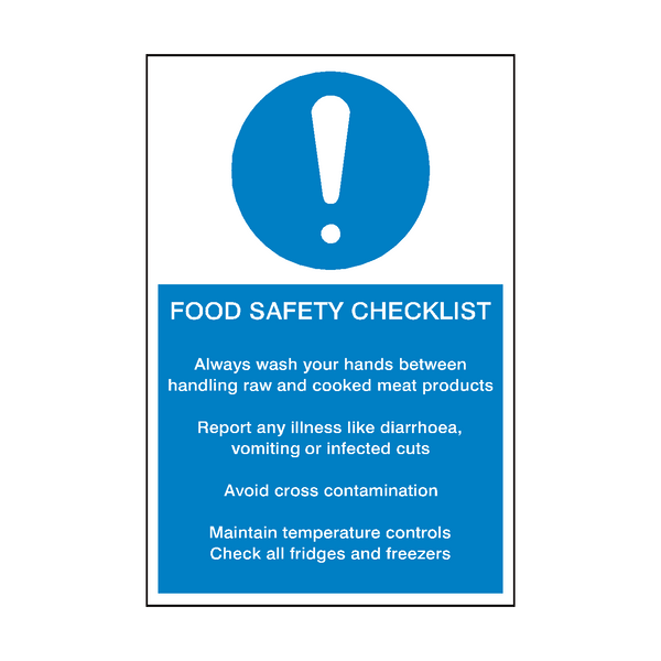 Food Safety Checklist Sign | PVC Safety Signs