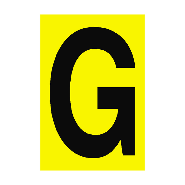 Letter G Yellow Sign | PVC Safety Signs