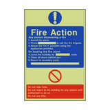 General Fire Action Photoluminescent Sign | PVCSafetySigns.co.uk