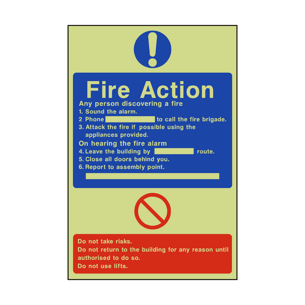 General Fire Action Photoluminescent Sign - PVC Safety Signs