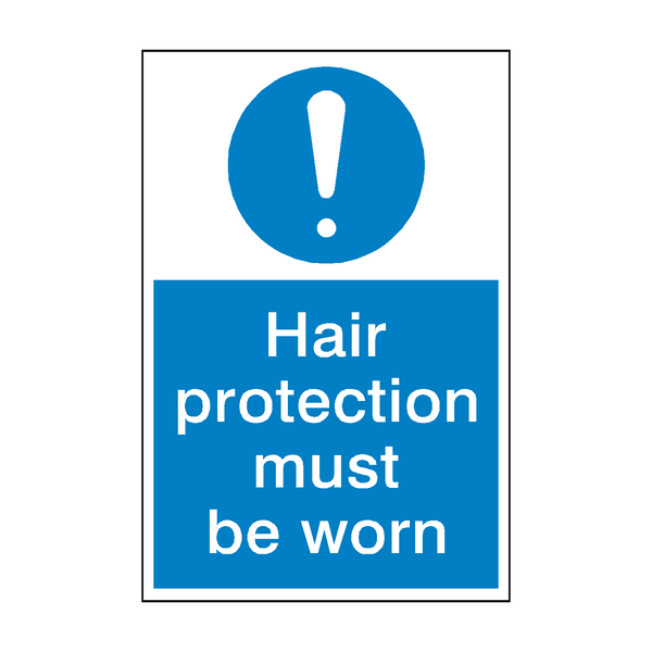 Hair Protection Mandatory Sign | PVC Safety Signs