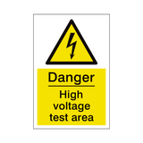 High Voltage Test Area Sign | PVCSafetySigns.co.uk