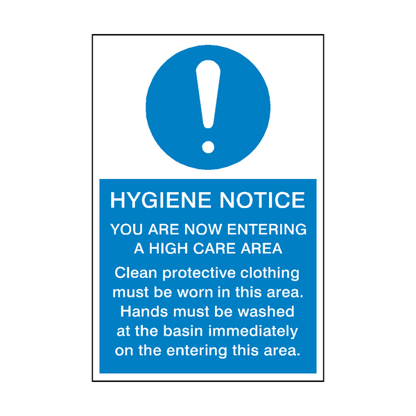 Hygiene Notice Sign | PVC Safety Signs