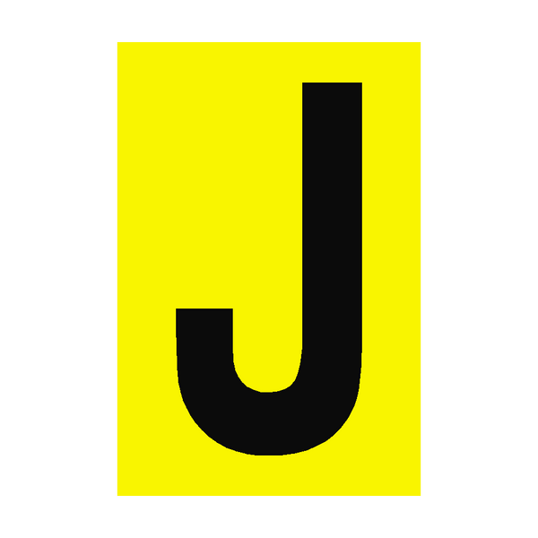 Letter J Yellow Sign | PVC Safety Signs