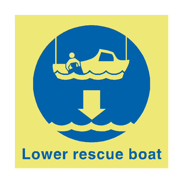 Lower Rescue Boat Sign | PVC Safety Signs
