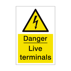Live Terminals Sign | PVC Safety Signs | Health and Safety Signs