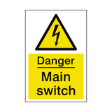 Main Switch Sign | PVCSafetySigns.co.uk