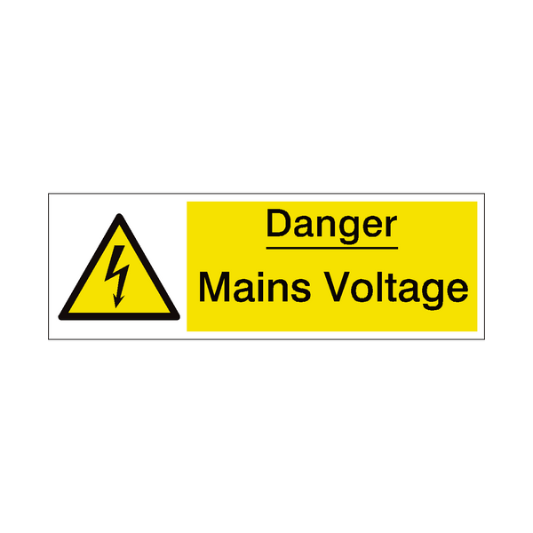 Mains Voltage Safety Sign | PVCSafetySigns.co.uk