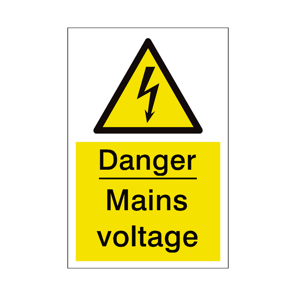Mains Voltage Sign | PVCSafetySigns.co.uk