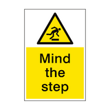 Mind The Step Hazard Sign Portrait | PVCSafetySigns.co.uk