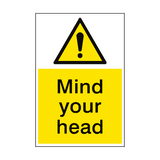 Mind Your Head Hazard Sign Portrait | PVCSafetySigns.co.uk
