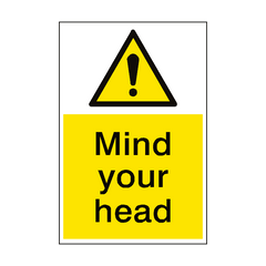 Mind Your Head Hazard Sign Portrait | PVC Safety Signs | Health and Safety Signs