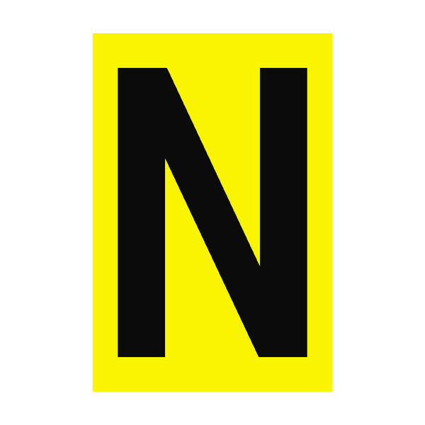 Letter N Yellow Sign | PVC Safety Signs