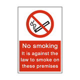 No Smoking Law Sign - PVC Safety Signs
