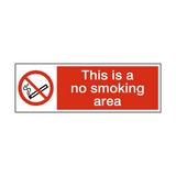 No Smoking Area Sign | PVCSafetySigns.co.uk