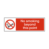 No Smoking Beyond This Point Landscape Sign - PVC Safety Signs