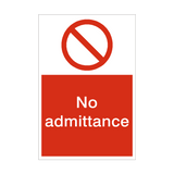 No Admittance Sign | PVCSafetySigns.co.uk