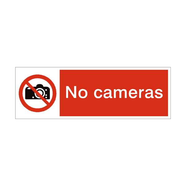 No Cameras Safety Sign - PVC Safety Signs