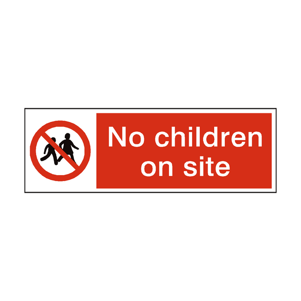 No Children On Site Safety Sign | PVC Safety Signs