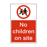 No Children On Site Sign | PVCSafetySigns.co.uk