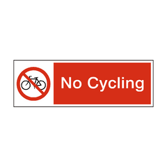 No Cycling Safety Sign | PVC Safety Signs | Health and Safety Signs