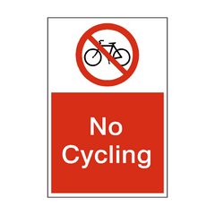 No Cycling Sign | PVC Safety Signs | Health and Safety Signs