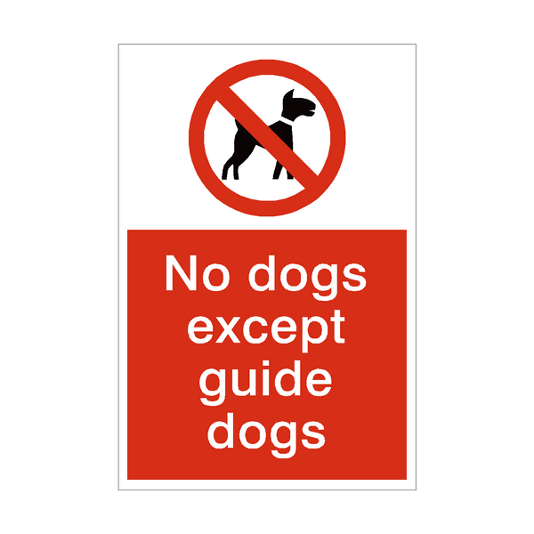 No Dogs Except Guide Dogs Sign - PVC Safety Signs