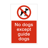 No Dogs Except Guide Dog Prohibition Sign | PVCSafetySigns.co.uk