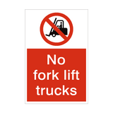 No Fork Lift Trucks Sign | PVCSafetySigns.co.uk