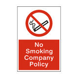 No Smoking Company Policy Sign - PVC Safety Signs