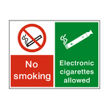 No Smoking Electronic Cigarettes Permitted Sign - PVC Safety Signs