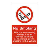 No Smoking In Vehicle Sign - PVC Safety Signs