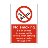 No Smoking In Vehicle Under 16 Sign - PVC Safety Signs