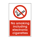 No Smoking Including Electronic Sign - PVC Safety Signs