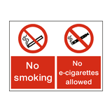 No Smoking No E-Cigarette Dual Sign - PVC Safety Signs