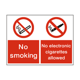 No Smoking No Electronic Dual Sign - PVC Safety Signs