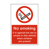 No Smoking in Vehicle Children Sign - PVC Safety Signs