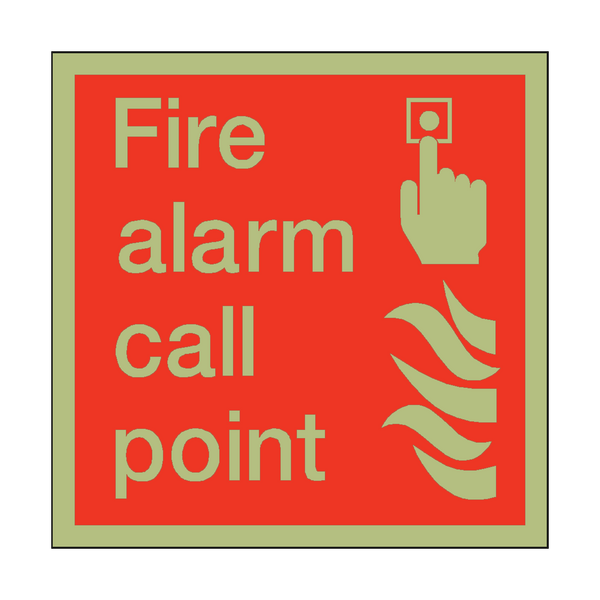 Photoluminescent Fire Alarm Call Point Square Sign - PVC Safety Signs